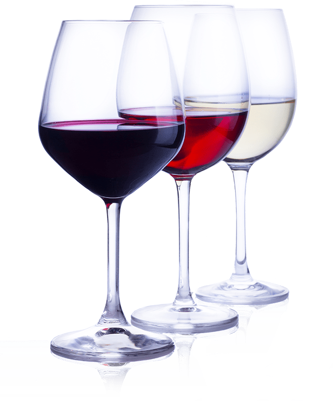 3 wine glasses with different varietals